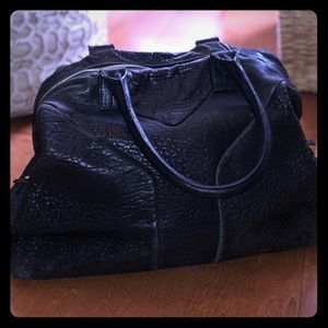YSL Easy Tote in black pebbled leather
